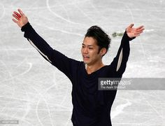 Daisuke Takahashi reacts after competing in the Men's Singles Free Program during the 82nd All Japan Figure Skating Championships at Saitama Super...