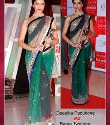 Buy Bollywood Replica Deepika Padukone Green Net Saree deepika-padukone-saree online