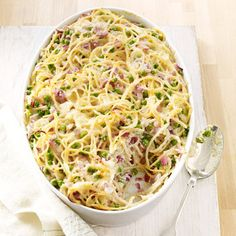 Don't be surprised when your kids ask to add this casserole — filled with gooey cheese, crispy bacon, and tender spaghetti — to your regular dinner rotation.