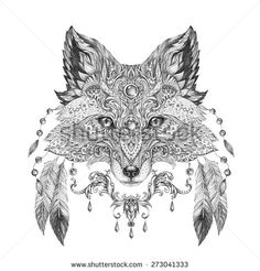 Tattoo, portrait of a wild fox in hand-painted in black ink with ethnic ornaments - stock photo