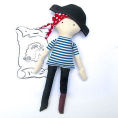 Pegleg Pirate Sewing Pattern PDF - Boy Cloth Doll - Pirate Captain Doll by SweaterDoll on Etsy