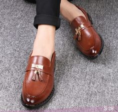 US $28 Designer Brand Casual Wedding Party Dress Genuine Leather Flats Shoe Oxfords Tassel Loafers Male Business Shoe Luxury Brand