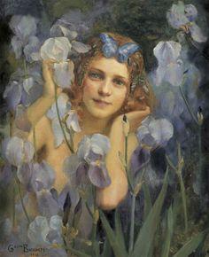 paintingispoetry:  Gaston Bussière, Wood Nymph Among Irises, 1911