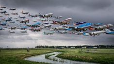 Amazing Photomontages of Planes  Photographer Mike Kelley likes challenges. For his series called Airportraits he was close to main airports to catch pictures of planes at take off and take on. Then he used Photoshop to show picture with dozens planes on it.                 #xemtvhay