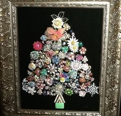 Vintage Jewelry Christmas Tree Framed Pearls of Wisdom Jeweled Christmas Trees, Christmas Tree Art, Christmas Jewelry, Winter Christmas, Vintage Christmas, Christmas Decorations, Christmas Necklace, Christmas Ideas, Costume Jewelry Crafts