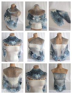 Hand crocheted blue white navy blue triangle Shawl Scarf $55.00