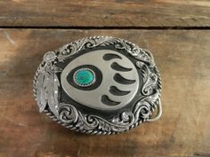 Siskiyou Buckle Co Bear Claw and Feather Design with Turquoise Stone Diamond Cut Western Belt Buckle by WesternKyRustic on Etsy