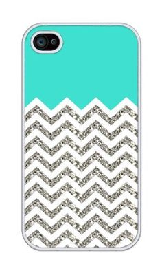 Chevron Pattern Turquoise Grey White Mixed RUBBER iphone 4, iphone 4S case (NOT ACTUAL GLITTER) - Fits iphone 4/4S T-Mobile, AT, Sprint, Verizon and International by Phantasmic Arts, http://www.amazon.com/dp/B00CID02DC/ref=cm_sw_r_pi_dp_eaO9rb0WPBVSB