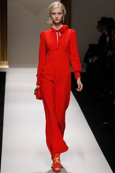 Moschino Fall 2013: Romantic Jumpsuit or gown? Nice to see sleeves.
