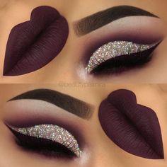 Dark purple glitter cutcrease makeup with liquid lipstick eyeliner. Liquid Lipstick Lime Crime Velvetine Raven http://www.instagram.com/beautypalmira #makeupideasforhomecoming