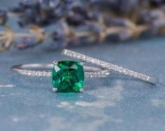 HANDMADE RINGS & BRIDAL SETS by MoissaniteRings on Etsy Bridal Ring Sets, Handmade Rings, Etsy Seller, Unique Jewelry, Engagement Rings, Gifts, Emerald, Merry, Weddings