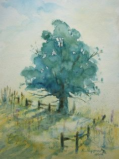 Landscape, Print of Original Watercolor Painting matted 10x8 and ready to frame 14x11, tree artwork