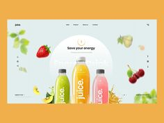 Juice energy drink energy fruit juice branding typography logo design web ux ui Juice energy drink e Juice Logo, Juice Branding, Juice Packaging, Design Web, Web Banner Design, Web Banners, Media Design, Fruit Juice Brands, Pag Web