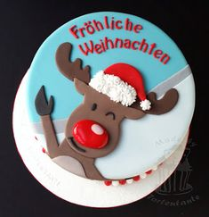 Rudolph Reindeer cake for christmas with happy christmas