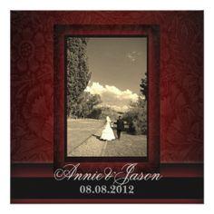 "Elegant burgundy damask photo Wedding Invitation 5.25"" Square Invitation Card"