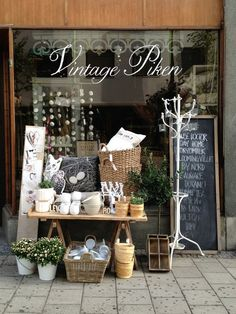 SHOPLIFTER Vintage Piken #shop #boutique #shabby #chic #french #garden #baskets #sign #window