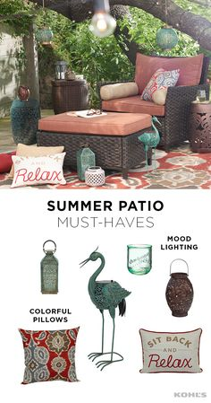 Summer goal: take time to sit back and relax. But first, create a peaceful patio escape that will make it easy to put your feet up. Throw pillows add color (and comfort) to a patio chair and lanterns are perfect for mood lighting when the sun sets. Add a side table, an eye-catching piece of decor that makes you happy and a glass of lemonade. Your summer escape awaits. Get your home ready for summer with Kohl's.