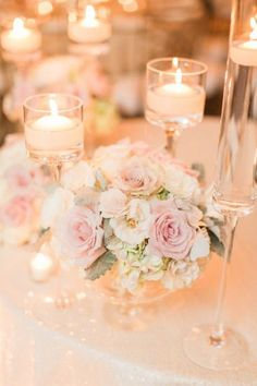 Wedding table decorations floating candles romantic wedding centerpieces for rustic wedding ideas Romantic Wedding Centerpieces, Wedding Table Centerpieces, Romantic Weddings, Reception Decorations, Wedding Flowers, Reception Ideas, Floral Wedding, Wildflower Centerpieces, Centerpiece Flowers
