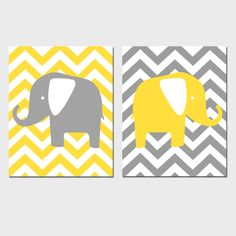Modern Chevron Elephant Duo Set of Two 8x10 Chevron by Tessyla $39.50  Just got this in aqua and orange for the nursery! She has a ton of prints and colors available.