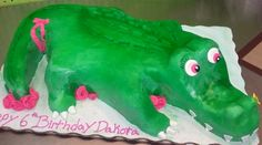 An alligator cake carved for a 6 year old girl's birthday.