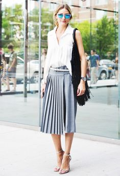 Pleated skirt, white top, nude strappy heels