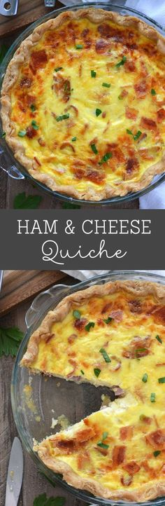 This gluten free Ham and Cheese Quiche is perfect for brunch but is hearty enough for dinner. Full of ham, bacon and cheese, it's a protein packed meal full of smoky flavor – a sure crowd pleaser. Breakfast Dishes, Breakfast Time, Breakfast Recipes, Breakfast Quiche, Breakfast Casserole, Free Breakfast, Bacon Breakfast, Perfect Breakfast, Quiches