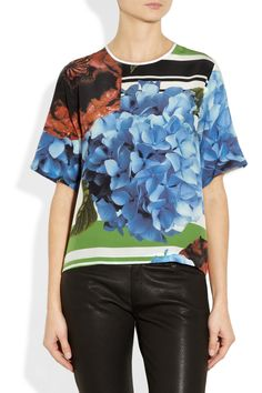 Preen | Wyatt printed silk crepe de chine top