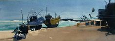 Hastings trawlers backs turned against the heaving surf Watercolor Landscape, Watercolor Paintings, Watercolours, Painting Inspiration, Surfing, Ocean, Contemporary, World, Artist