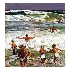 """Surf Swimming,"" August 14, 1948 Giclee Print by John Falter at Art.com"
