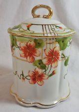 Antique Hand Painted Nippon Porcelain Condensed Milk Holder Jam Jar Cold Gilt
