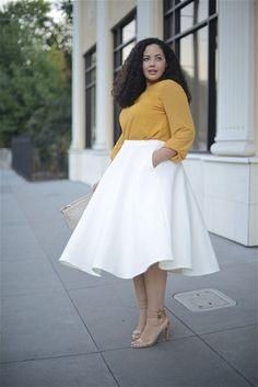 Twirl (Girl with Curves) Curvy Outfits, Mode Outfits, Plus Size Outfits, Plus Size White Outfit, Skirt Outfits, Plus Size Fashion For Women, Plus Size Women, Plus Fashion, Curvy Girl Fashion