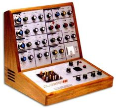 EMS (Electronic Music Systems) VCS3. One of the first modular synths (1969) and still a superb, frisky little bastard. Think Pink Floyd 'Dark Side of the Moon. Or Brian Eno, Curved Air, and early Tangerine Dream.
