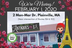 2/1/20 NEW location! 2 Man Mar Dr. Plainville MA 02762 / Boutique specializing in unique giftware, bespoke furniture, antiques & collectables, art, women's apparel. Annie Sloan, Vintage Gifts, Location, Chalk Paint, Man, Boutique, Antiques, Antiquities, Antique