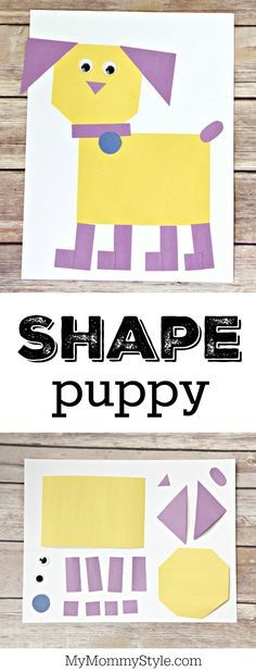 Puppy made from simple shapes! Great way to create art and work on shapes!