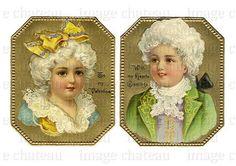 BOY and GIRL Frances Brundage COLONIAL powdered by ImageChateau, $2.50