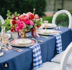 Cornflower Blue gingham by House of Hough paired with fuchsia and red floral