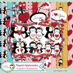Kit Digital Pinguins Apaixonados by Lu Arteira