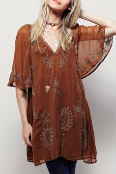 Embroidered Plunging Neck Half Sleeve Dress