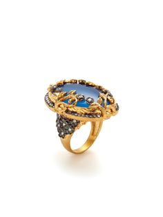Ornate Blue Onyx Oval Ring by Azaara at Gilt