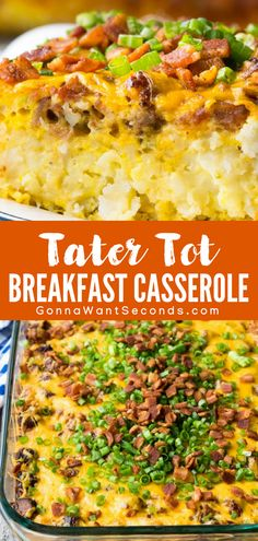 Tater Tot Breakfast Casserole takes minutes to assemble and the result is a dish that's perfect for family breakfast, fancy brunch, or a church potluck! A cheesy, comfort food casserole loved by kids and adults! Tater Tot Breakfast Casserole, Sausage Breakfast, Breakfast Dishes, Best Breakfast, Breakfast Ideas, Brunch Casserole, Breakfast Skillet, Health Breakfast, Breakfast Crockpot Recipes