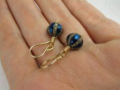 Antique Victorian Blue Enamel, Diamond, Silver and 9K Gold Earrings from blackwicks on Ruby Lane