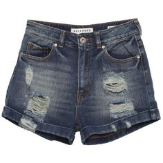 Super High Waisted Destroyed & Ripped Mom Shorts ($40) ❤ liked on Polyvore featuring shorts, 12. shorts & skirts., 12. shorts., 15. shorts & skirts., high waisted ripped shorts, distressed shorts, ripped shorts, destroyed shorts and highwaist shorts