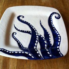 ORIGINAL Jessica Howard Ceramics Navy blue, indigo ink octopus legs ceramic serving plate, platter, tray, dinner plate