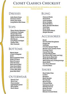 Closet Classics Checklist    *The basics that every woman should own that will transform your closet into a timeless wardrobe.