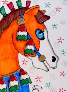 ACEO CAROUSEL CHRISTMAS HORSE ON EBAY