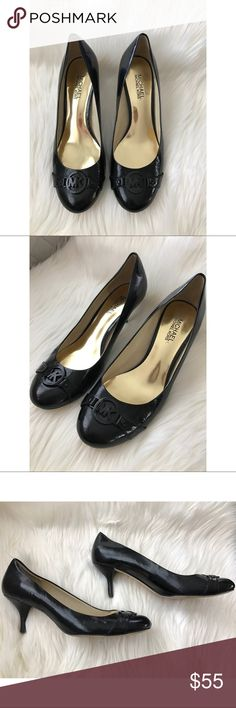 """Michael Korea Heels Beautiful Michael Kors high heels, women's size 8 1/2 M. Beautiful """"MK"""" logo hardware on toe. Leather uppers, rubber outsole. Excellent condition, minor creasing noted to leather. Michael Kors Shoes Heels"""