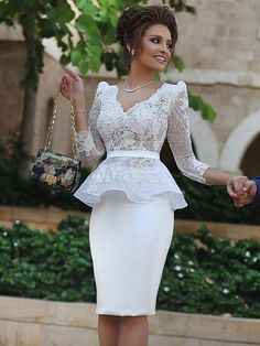Long Sleeves Knee Length Homecoming Dresses,Sheath Lace Prom Dress,Dress For Homecoming, Shop plus-sized prom dresses for curvy figures and plus-size party dresses. Ball gowns for prom in plus sizes and short plus-sized prom dresses for Knee Length Cocktail Dress, Short Cocktail Dress, Cocktail Dresses, Mode Outfits, Dress Outfits, Peplum Dresses, Dresses Short, Satin Dresses, Dress Vestidos