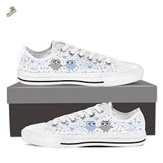 Cute OWL - Womens Low Top Sneakers in White/Mint Cute OWL - Low Top Sneakers in White/Baby Blue / US6 EU36 - Vaisb sneakers for women (*Amazon Partner-Link)