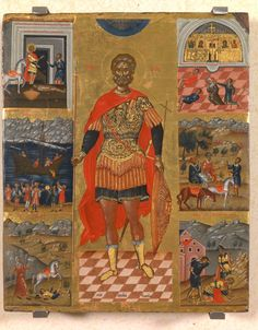 Agios Minas with scenes from the life of the first decades of the century, Emmanuel Lampardos. In the center is depicted St. Minas, as an Egyptian middle-aged military commander. New Art, Byzantine Art, Pagan Festivals, Painting, Middle Ages, Wall Painting, Byzantine Icons, Christian Art, Byzantine