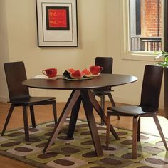 Saloom Furniture Nova Dining Table Finish: Flax, Table Top: Strata Top